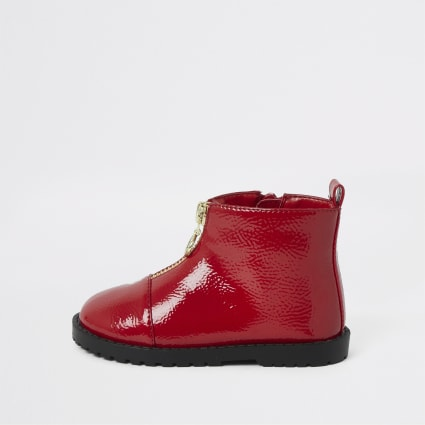 Mini girls red patent zip front boots