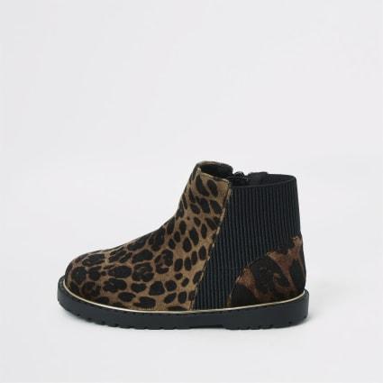 Mini girls brown leopard print boots
