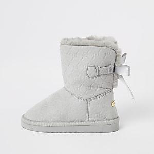 Mini - Grijze laarzen van imitatiebont met RI-monogram in reliëf voor meisjes