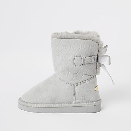 Mini girls grey RI embossed faux fur boots