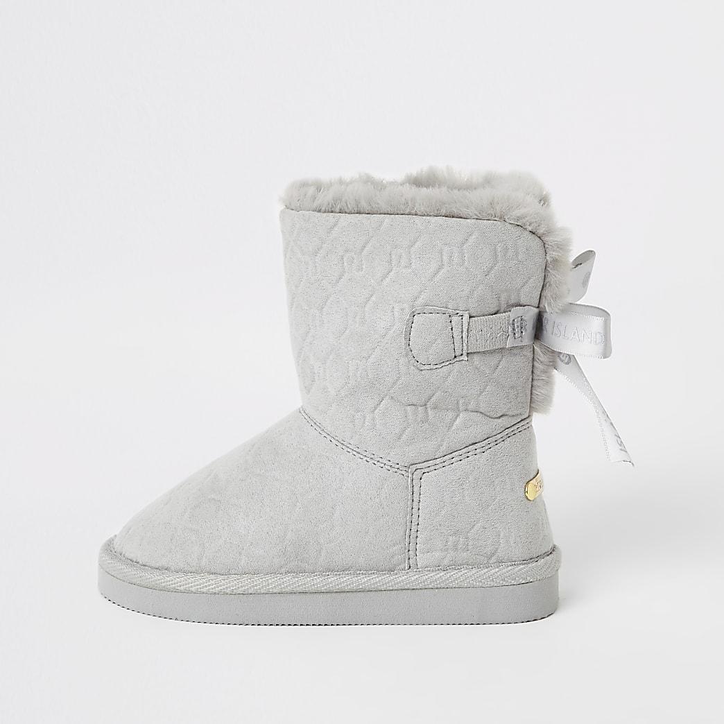 Mini girls grey RI embossed faux fur boots