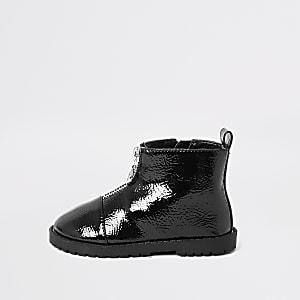 Schwarzer Stiefel mit vorderem Reißverschluss für kleine Mädchen