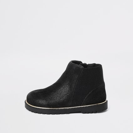 Mini girls black faux suede boots