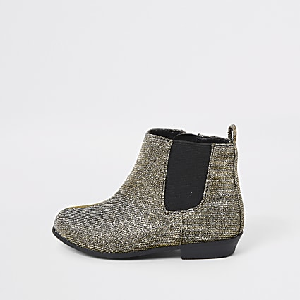 Mini girls glitter embellished chelsea boots