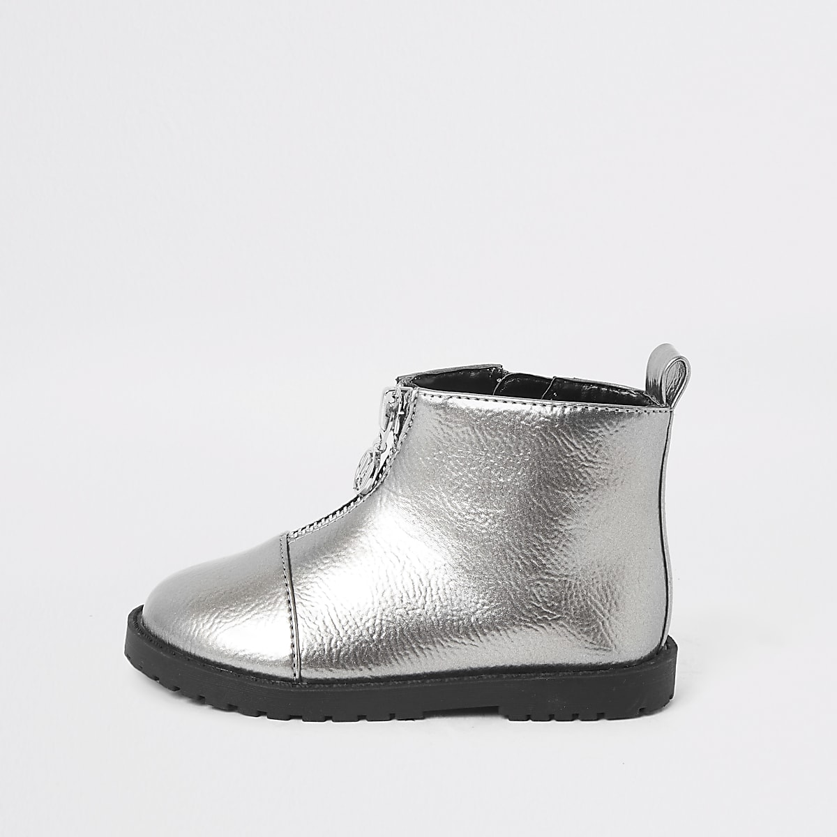 Mini girls silver zip front boots
