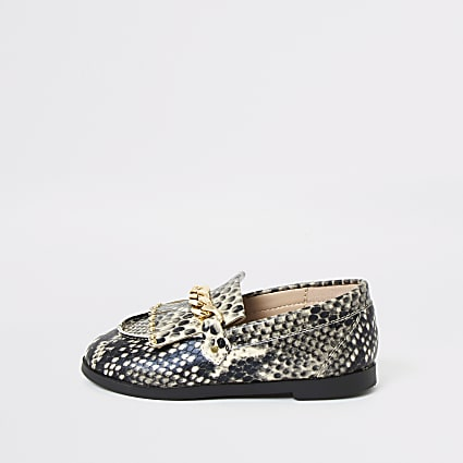 Mini girls snake print snaffle chain loafers