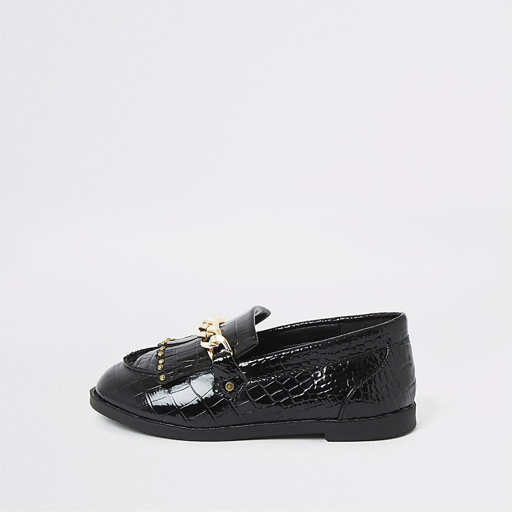 Mini girls black patent snaffle chain loafers