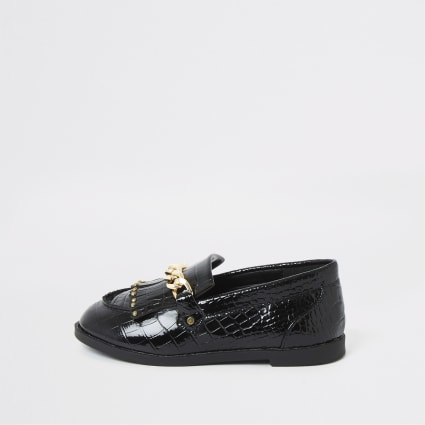 Mini girls black patent croc embossed loafers