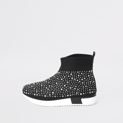 Mini girls black embellished sock trainer