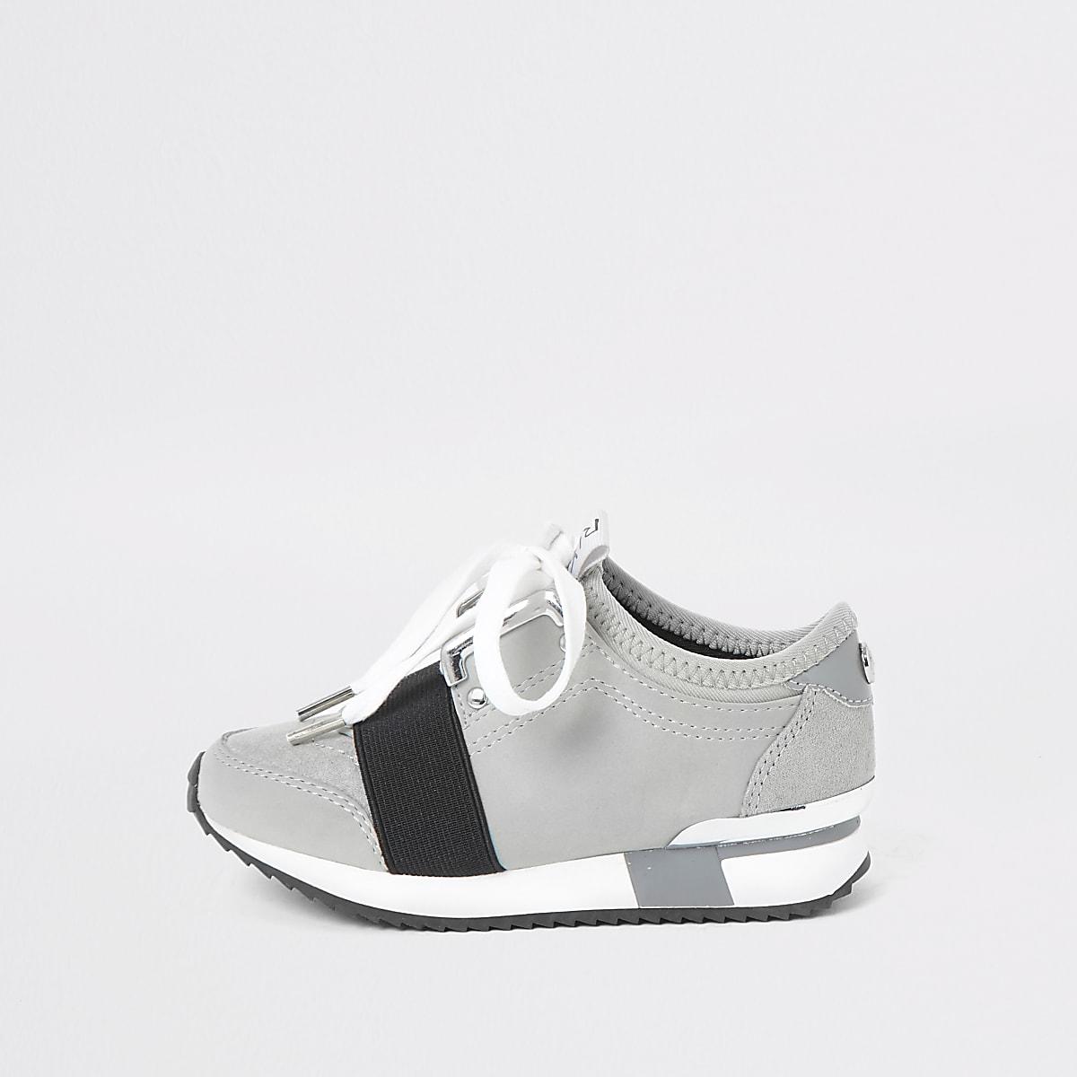 Mini girls grey runner trainers