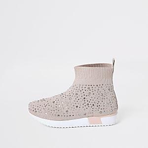 Pinkfarbene Sock-Sneaker mit Verzierung für kleine Mädchen