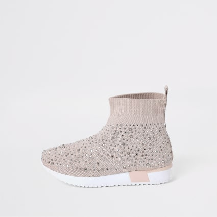 Mini girls pink embellished sock trainers