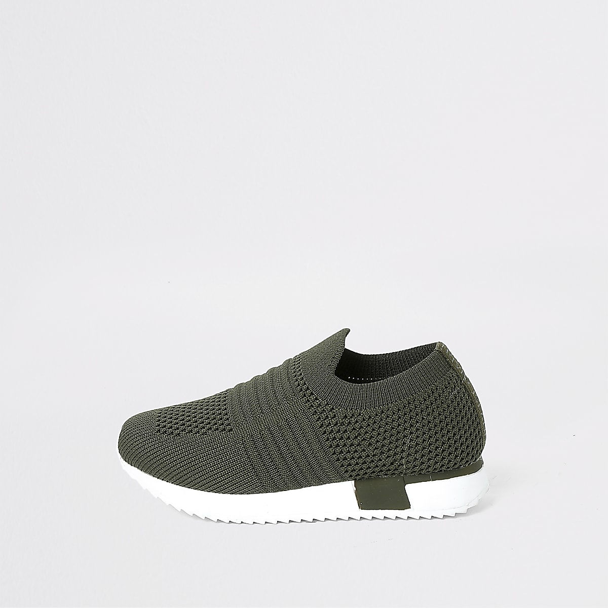 Mini girls khaki knit runner trainers