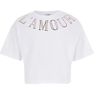 T-shirt court blanc à encolure imprimée pour fille