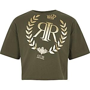 Kaki T-shirt met RI-logo voor meisjes