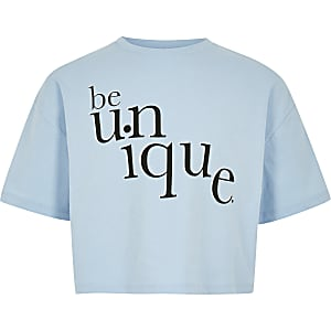 Girls blue 'Be unique' T-shirt