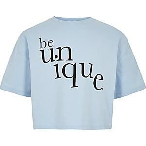 Blauw T-shirt met 'Be Unique'-print voor meisjes