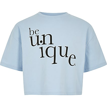 Girls blue 'Be unique' T-shirt