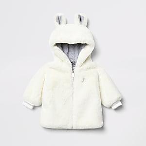 Veste en fausse fourrure crème à capuche avec oreilles d'ours pour bébé