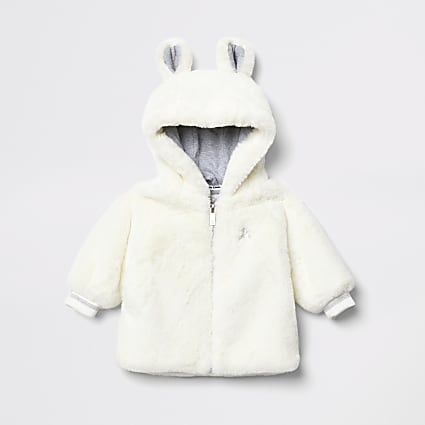 Baby cream faux fur bear ear hooded jacket