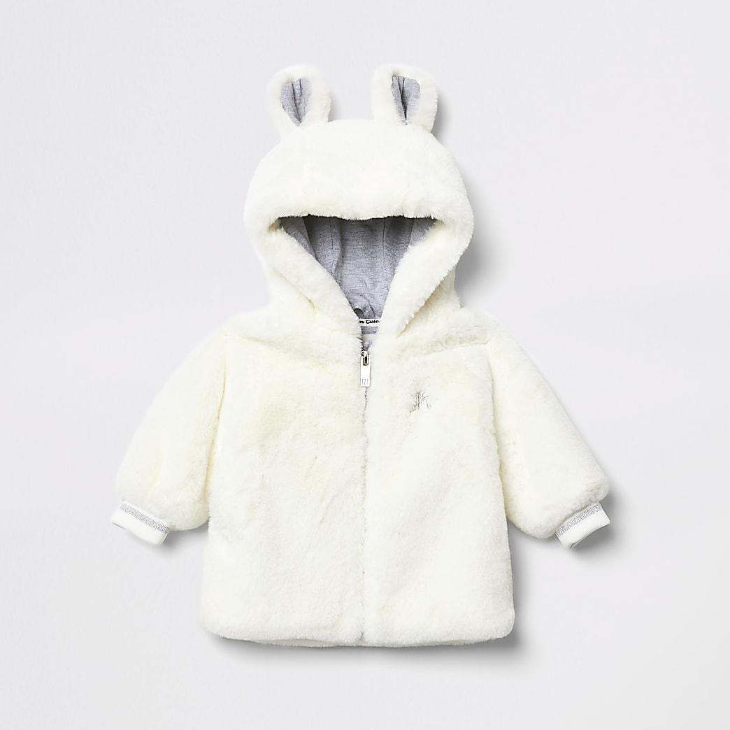 Cremefarbene Jacke mit Kapuze und Bärneohren aus Kunstfell