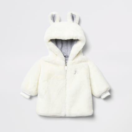 Baby cream faux fur bear ear hooded jacket