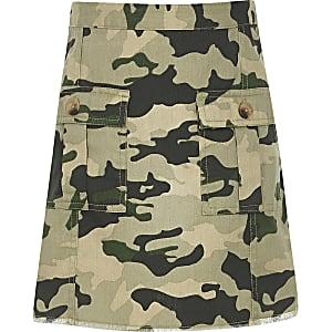 Jupe trapèze motif camouflage kaki pour fille