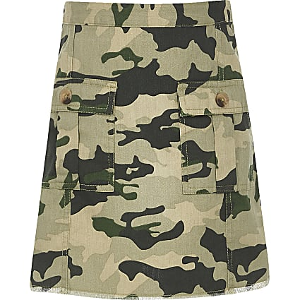 Girls khaki camo print A line skirt