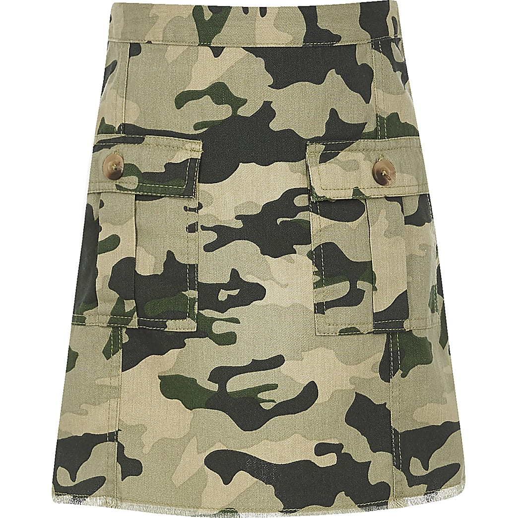 Girls khaki camo print A line skirt