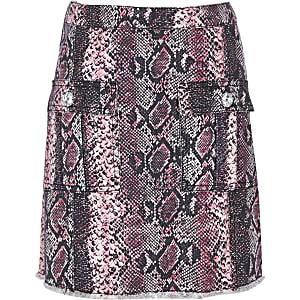 Pinkfarbener A-Linien-Rock in Schlangenlederoptik für Mädchen