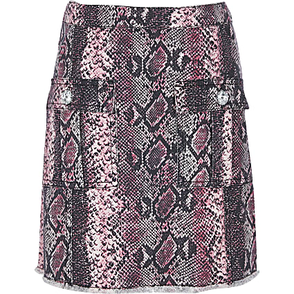 Girls pink snake print  A-Line skirt