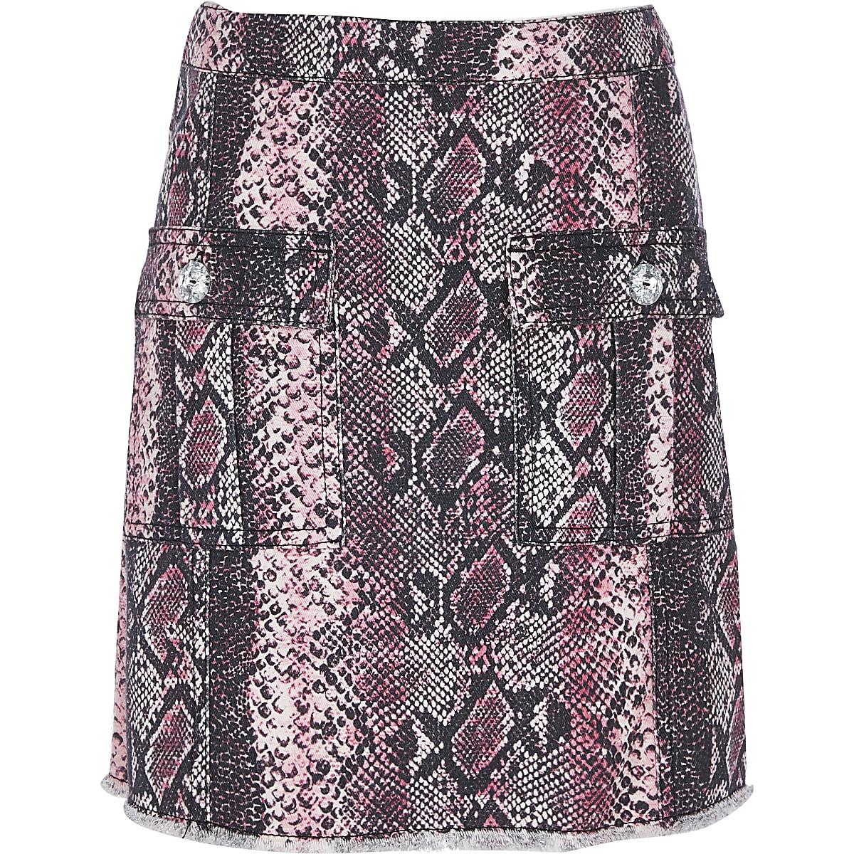 Roze A-lijn rok met slangenprint voor meisjes