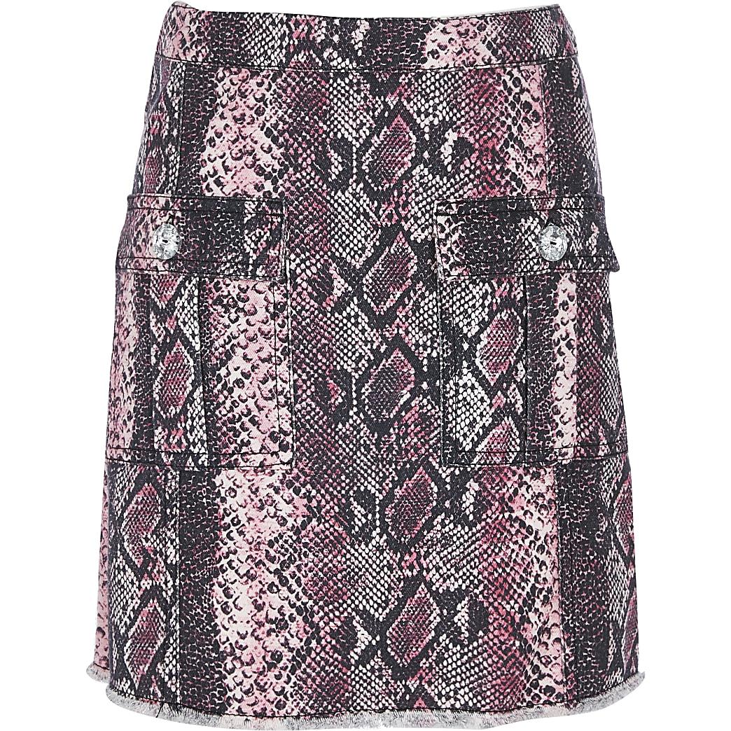 Girls pink snake print  A-Line skirt