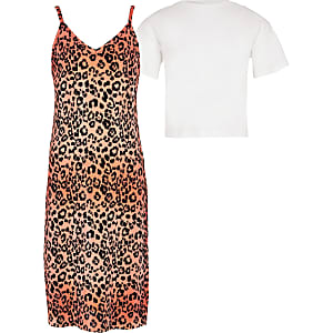 Girls orange leopard print 2 in 1 dress