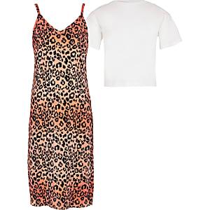 Girls orange leopard print 2 in 1 dress