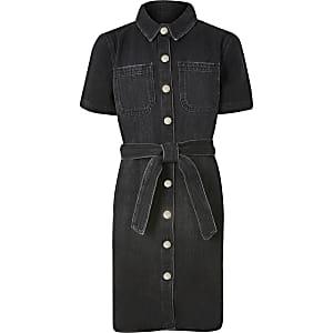 Robe chemise noire pour fille