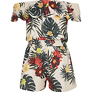 Girls white tropical bardot romper