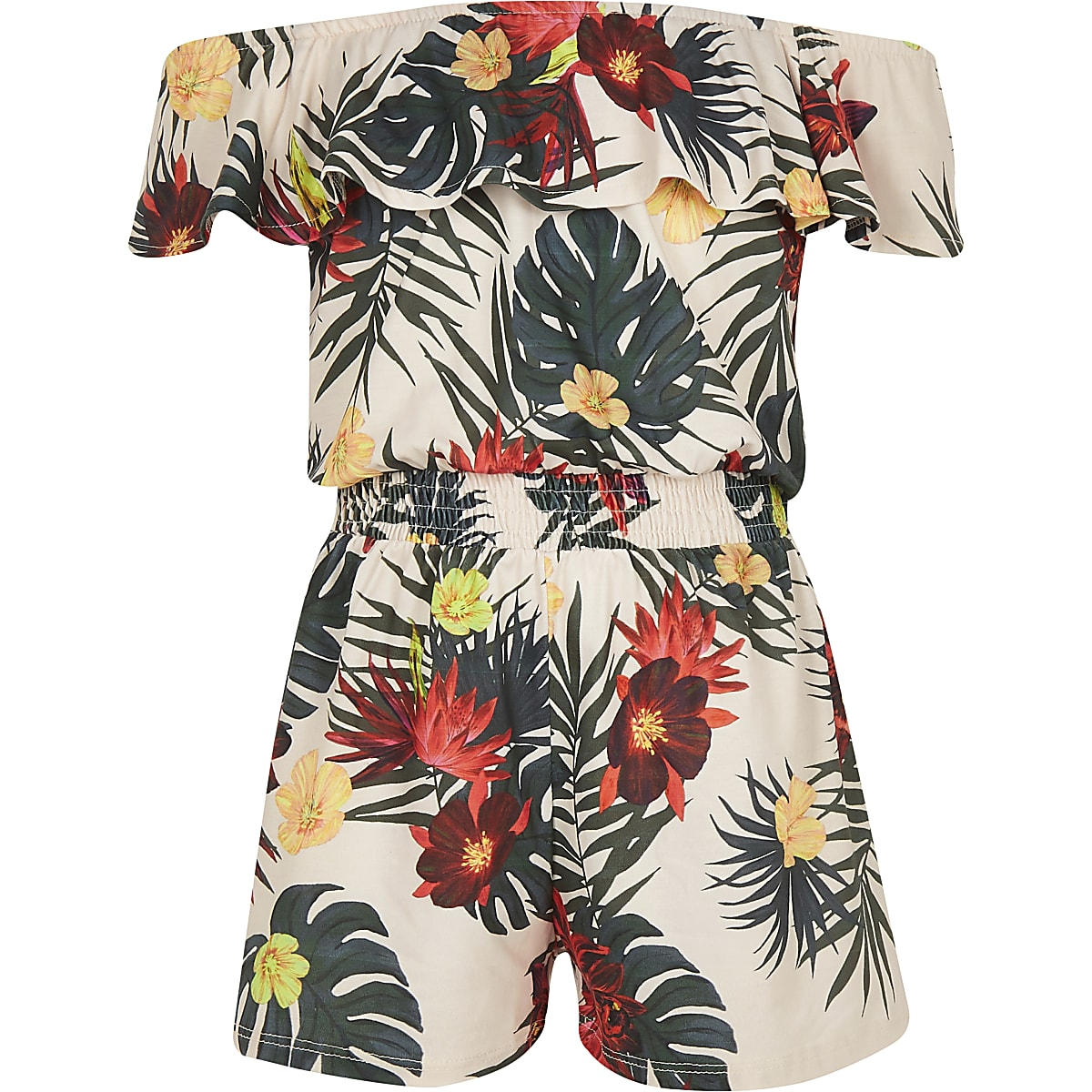 Girls white tropical bardot playsuit