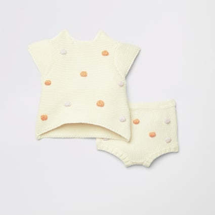 Baby cream knitted bobble baby outfit