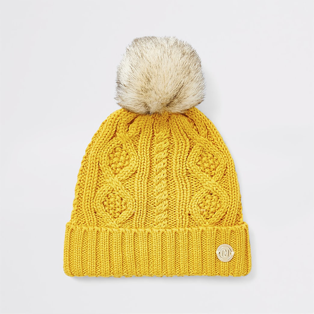 Baby yellow knitted pom beanie hat