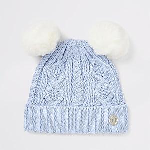 Blaue Beanie-Mütze mit doppelter Bommel für Babys