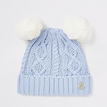 Baby blue double pom beanie hat