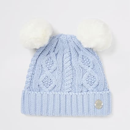 Baby blue double pom beanie hat