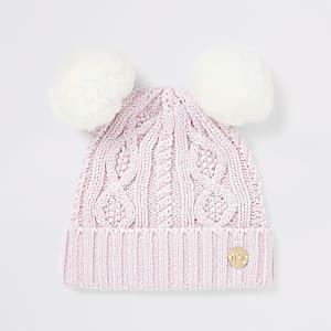 Roze beanie met twee pompons van imitatiebont voor baby's