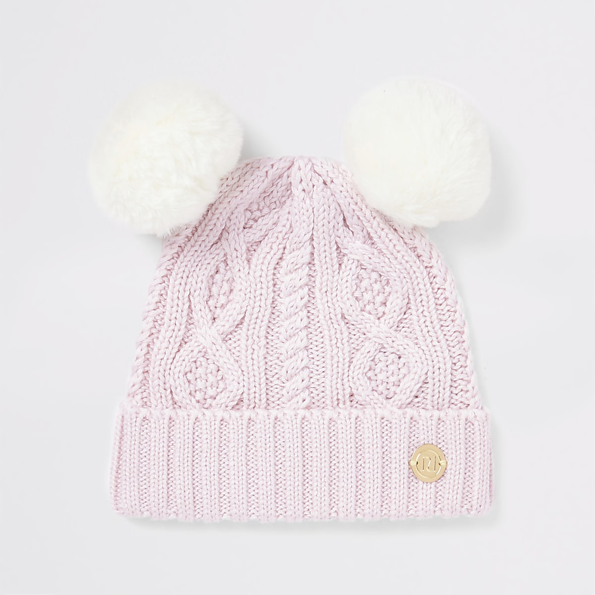 Baby pink double faux fur pom beanie hat