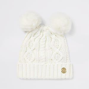 Cremefarbene Beanie-Mütze mit doppelter Strickbommel für Babys