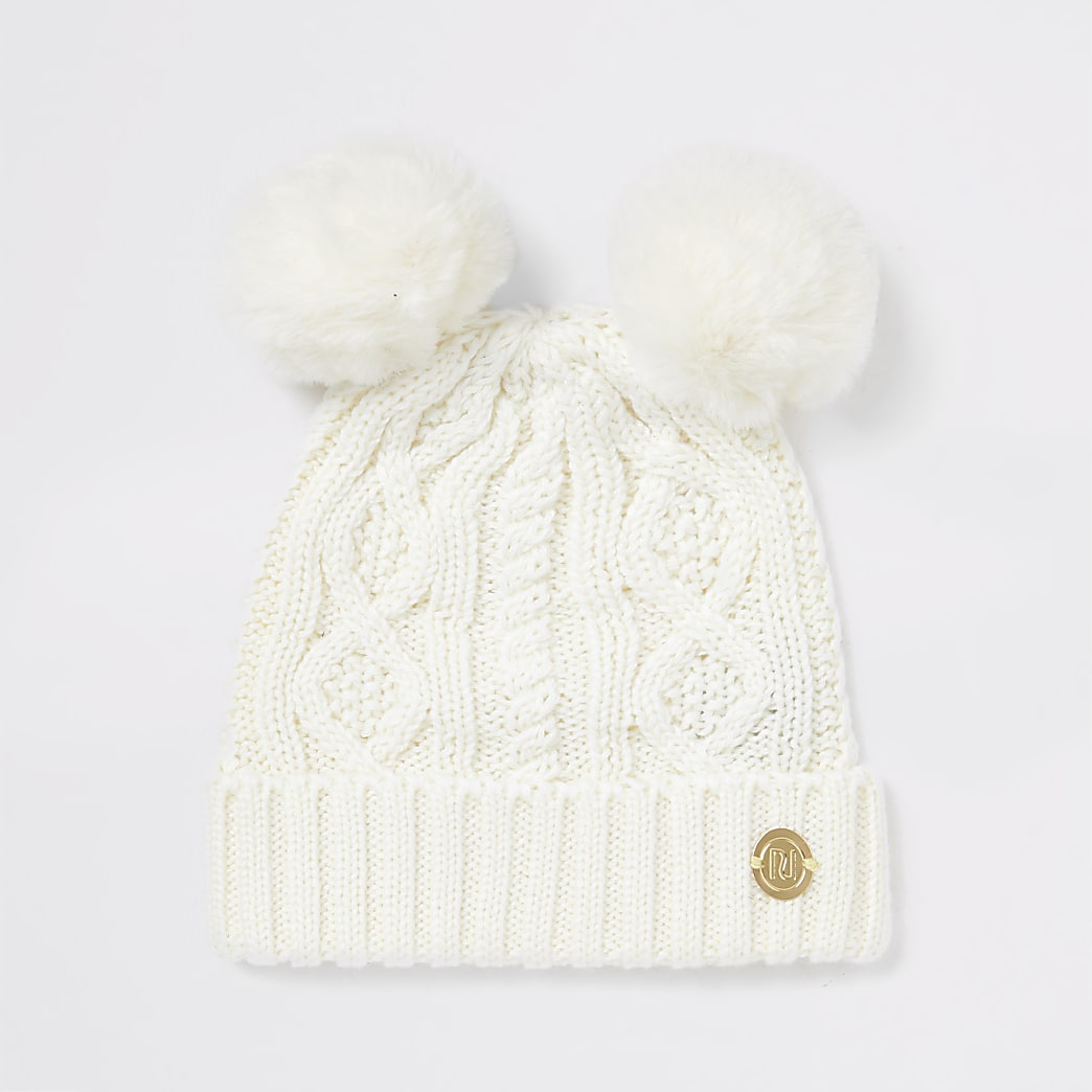 Baby cream knitted double pom beanie hat