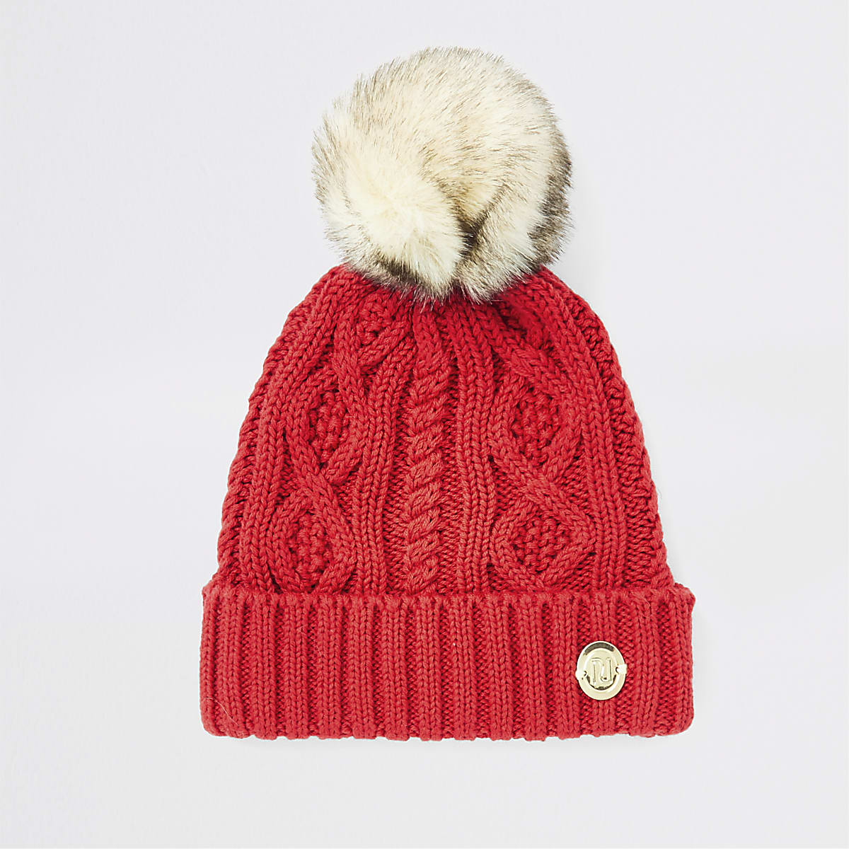 Baby red knitted pom beanie hat