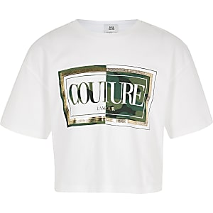 Girls white camo 'Couture' print crop T-shirt