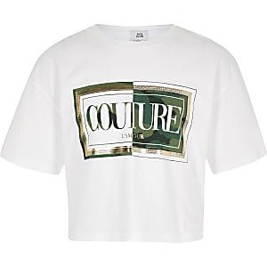 T-shirt court imprimé «Couture» camouflage blanc pour fille